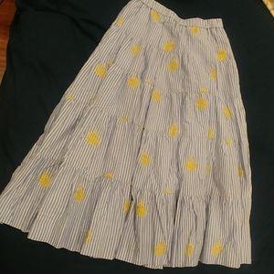 J Crew embroidered pineapple tiered midi skirt